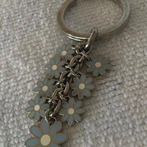 Coach blue daisy key chain